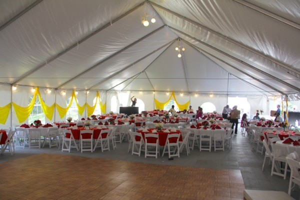 Inside Tent   Seating, Linens, And Lighting